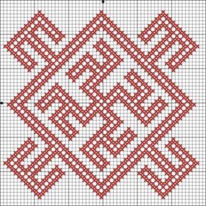 схема вышивки цветка папоротника