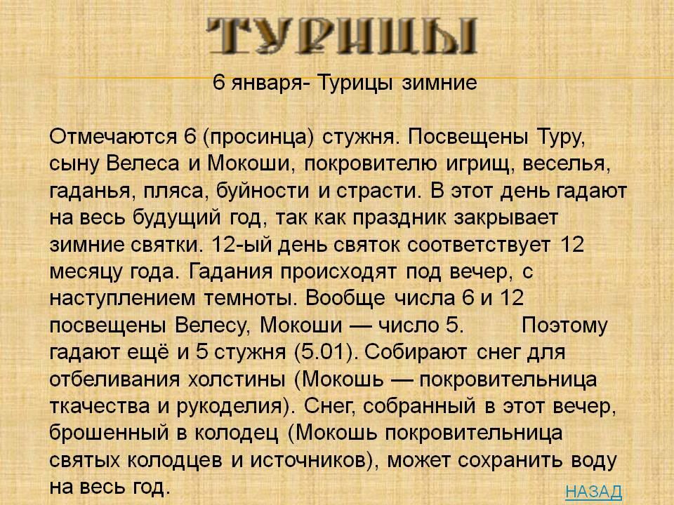 Турицы зимние, забытые праздники славян